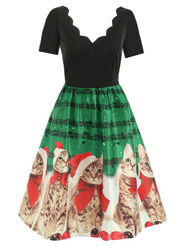 Scalloped Musical Notes Cat Christmas Flared Dress - GREEN L