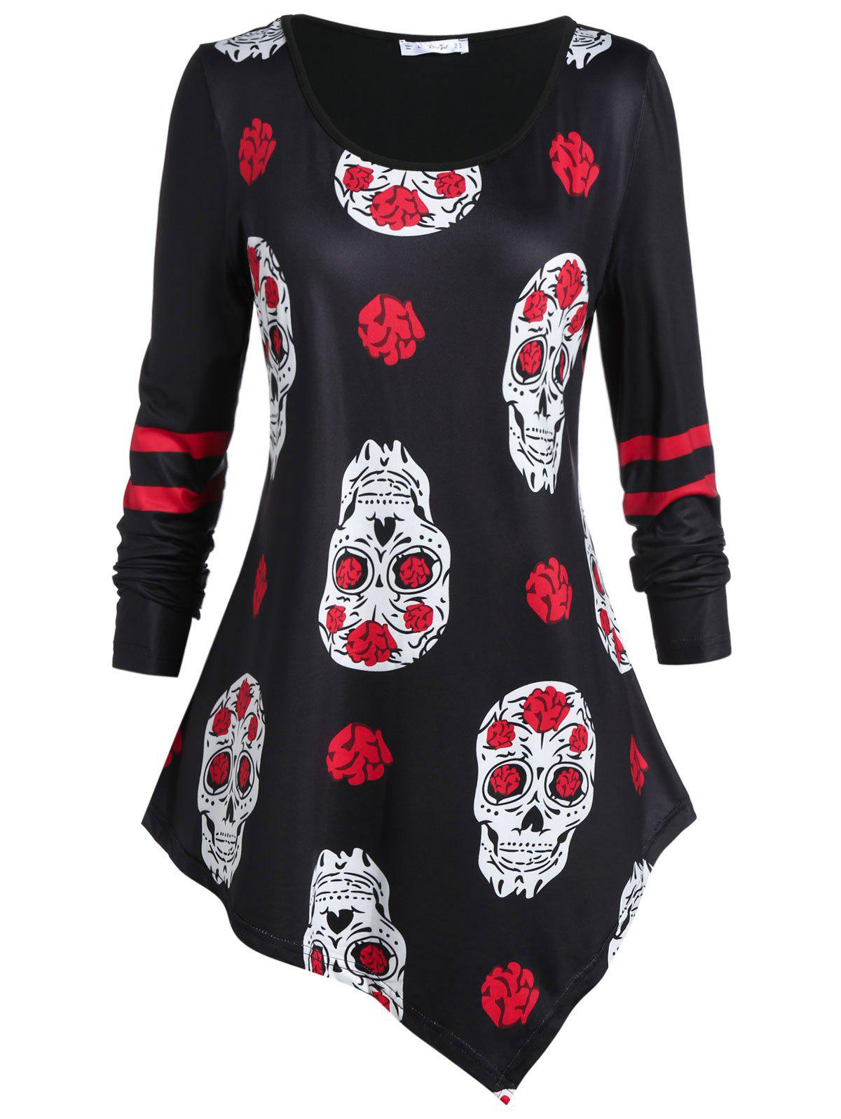 Plus Size Skull Print Asymmetrical Tunic T Shirt - BLACK L