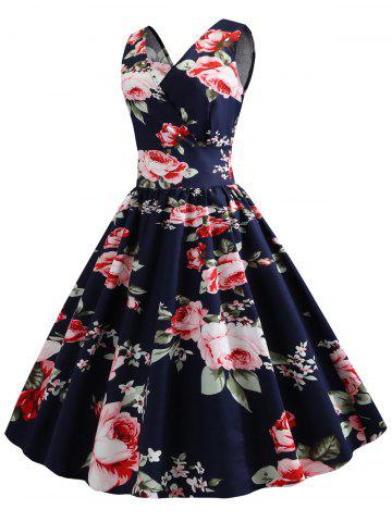 Floral Print Sleeveless Surplice A Line Dress