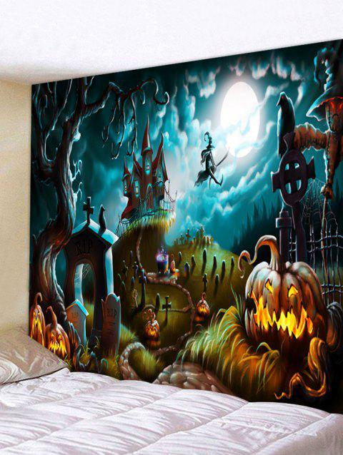 Halloween Pumpkin Castle Witch Pattern Print Tapestry - DARK TURQUOISE W79 X L59 INCH