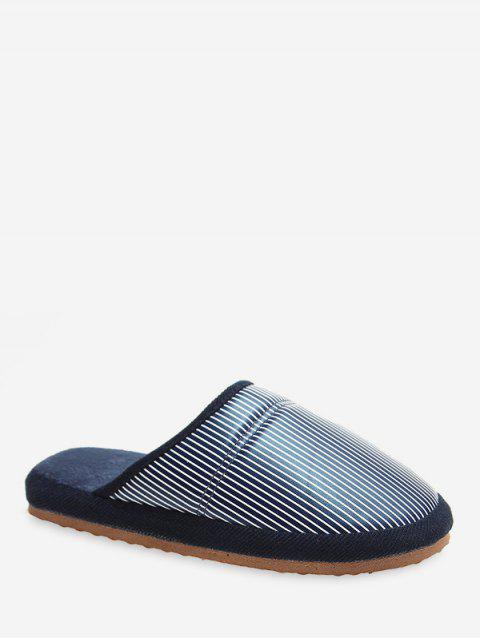 Close Toe Striped Flat Slippers - PEACOCK BLUE EU 38
