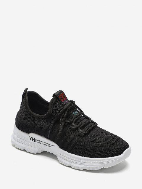 Casual Lace Up Breathable Mesh Sneakers - BLACK EU 40