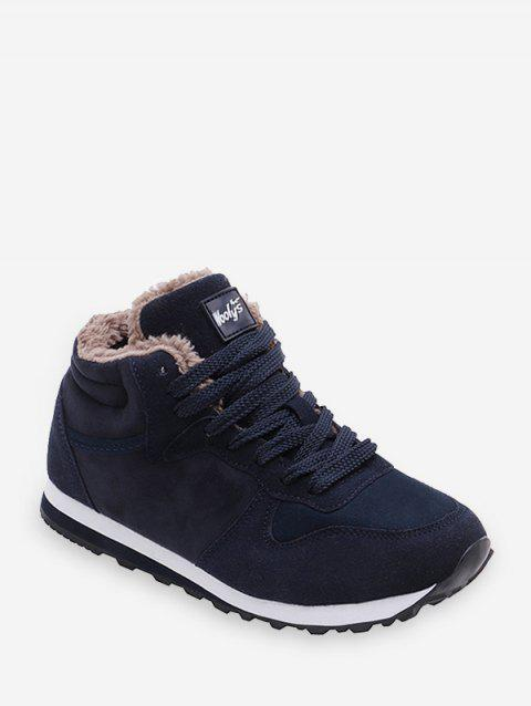 Lace-up Design Wool Casual Shoes - DEEP BLUE EU 41