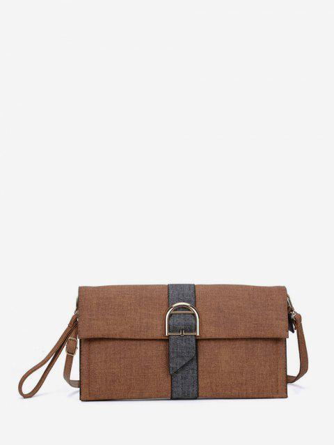 Buckle Design Square Simple Clutch Bag - BROWN