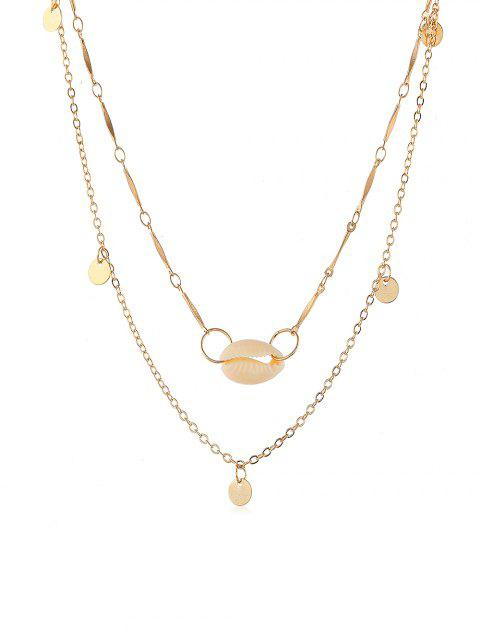 Collier Disque Rond Coquillage Design - Or