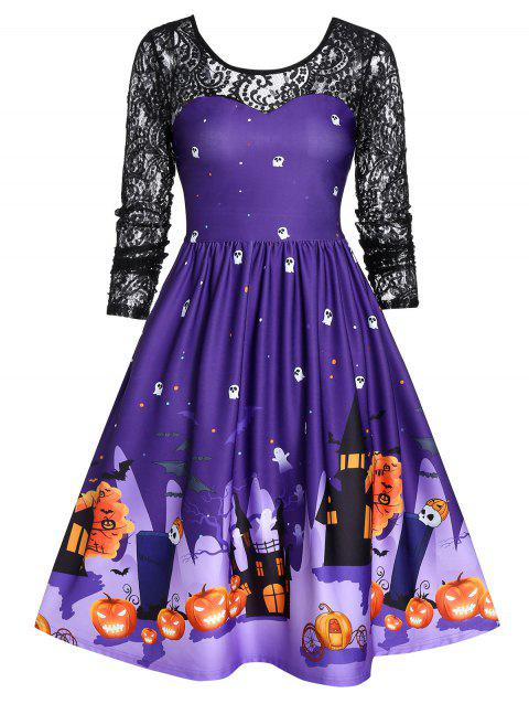 Vintage Lace Sleeve Halloween Party Swing Dress