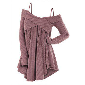 Plus Size Cold Shoulder Criss Cross Cami Knitwear