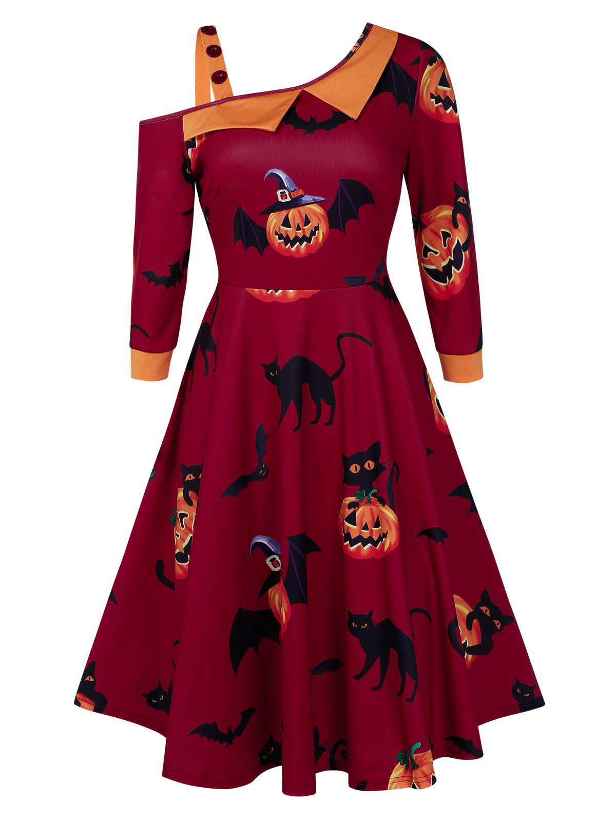 Cat Print A Line High Waist Halloween Dress - RED WINE XL