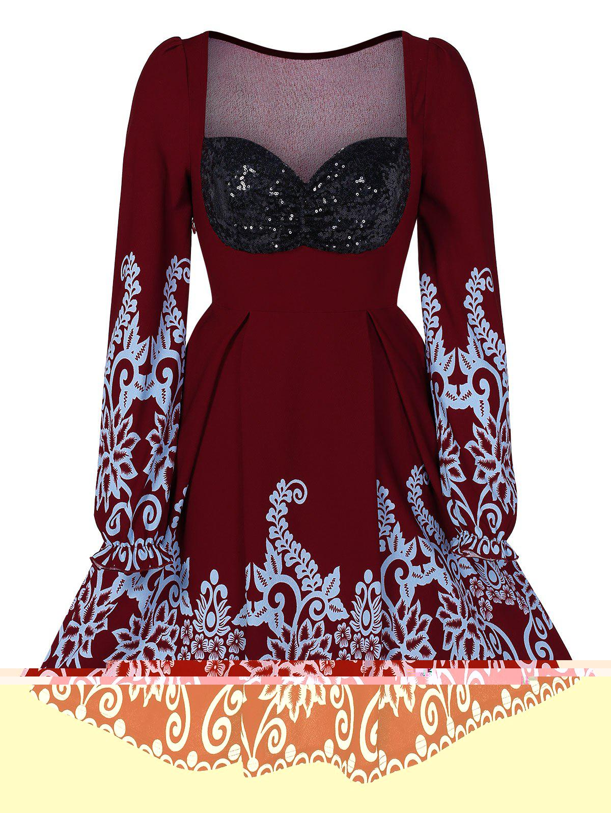 High Waist A Line Sequined Dress - RED WINE L