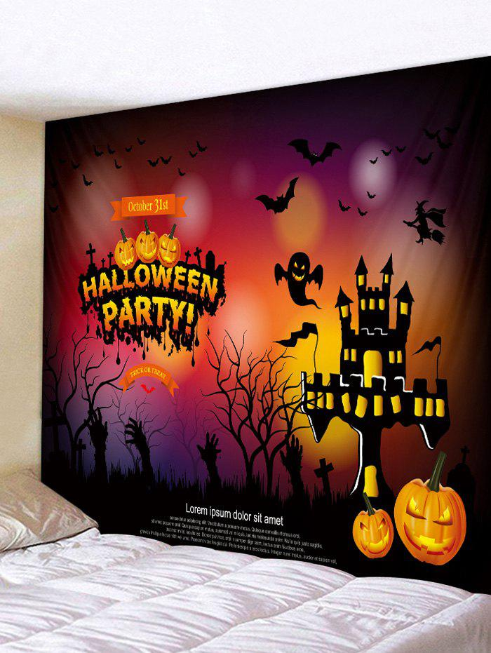 Halloween Pumpkin Castle Bats Pattern Print Tapestry, Chocolate