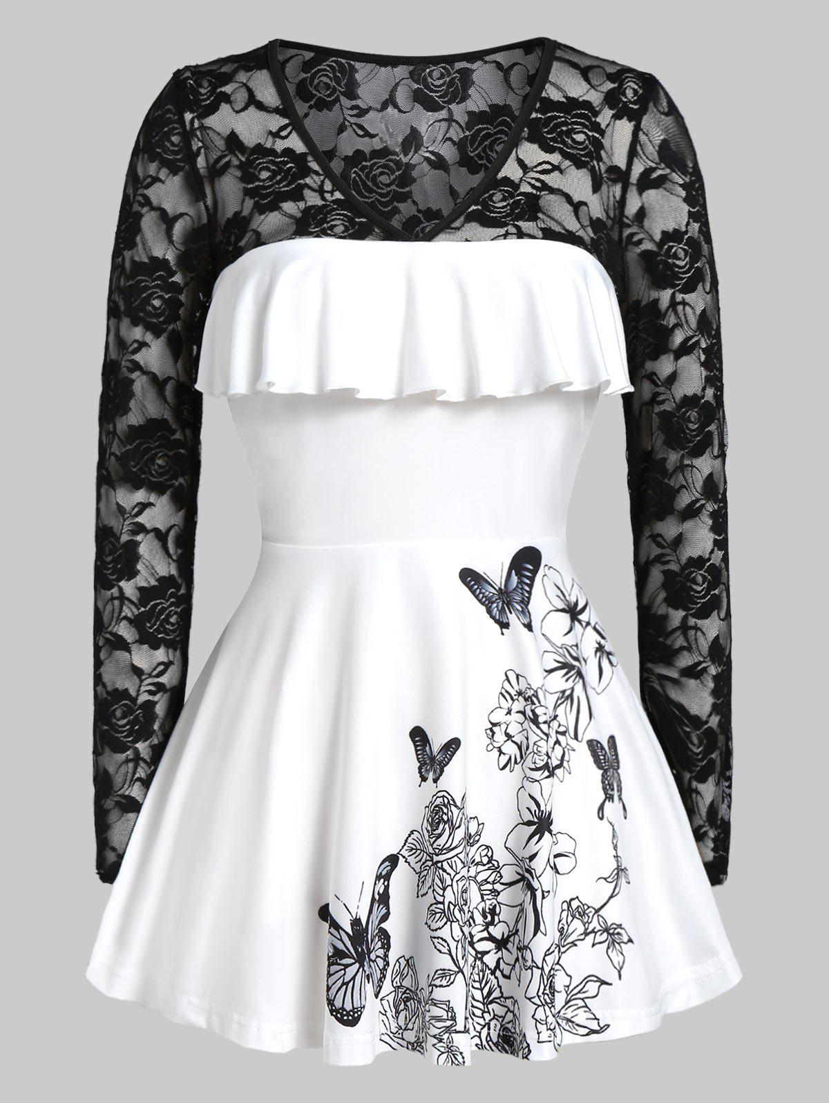 Plus Size Lace Panel Flower Butterfly Print Flounce Tunic Tee - BLACK 3X