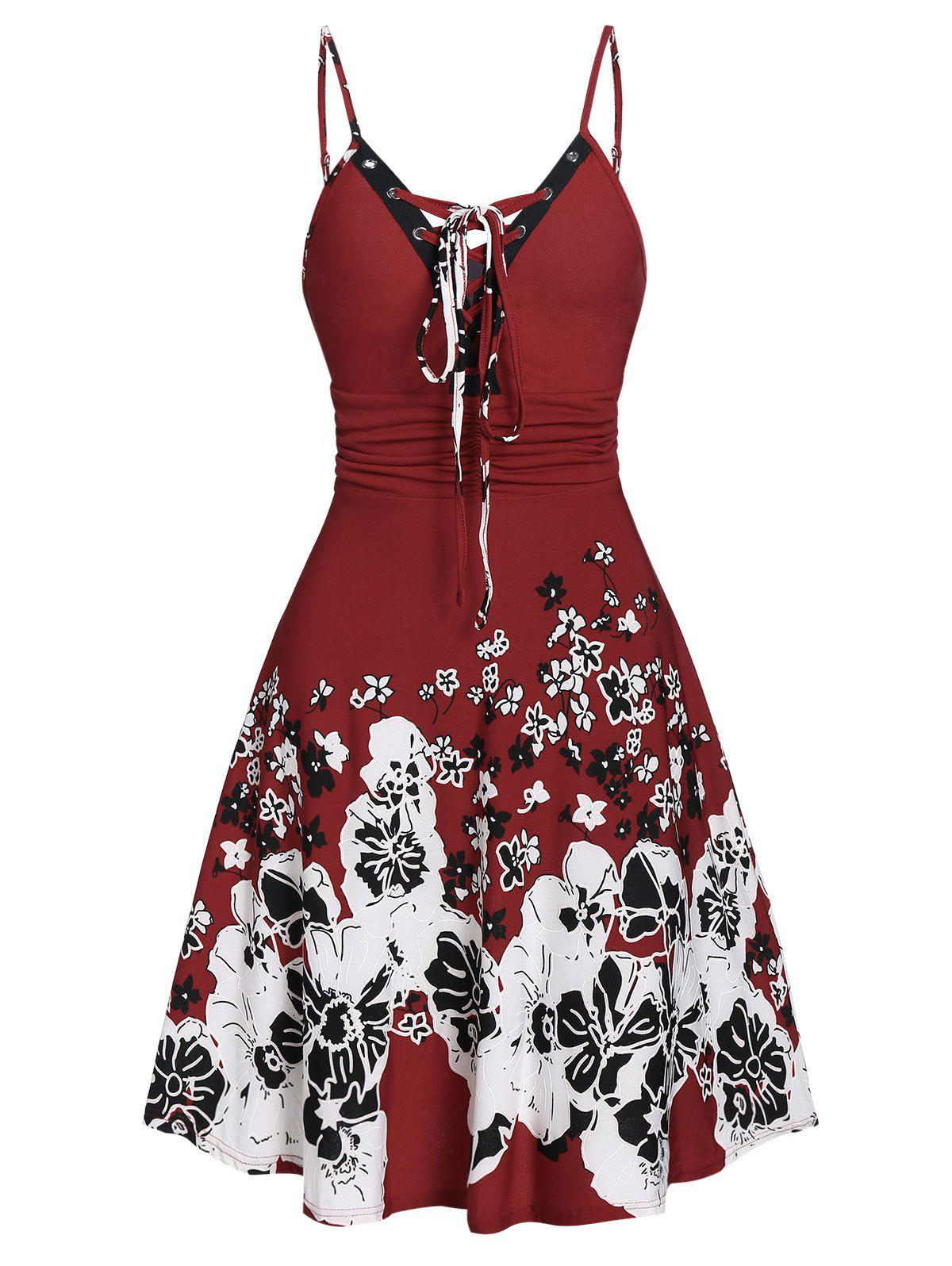 Lace Up Cami Floral Print Dress - RED WINE L