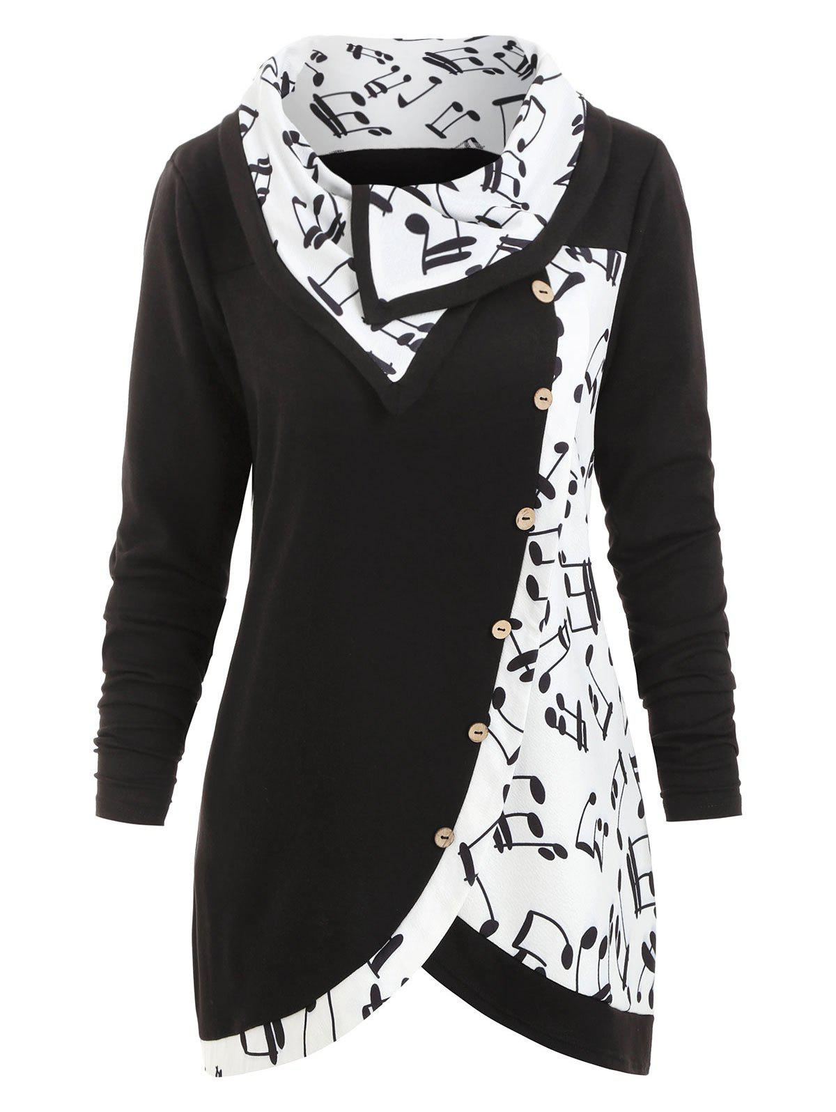 Plus Size Cowl Neck Musical Notes Print Sweatshirt - BLACK L