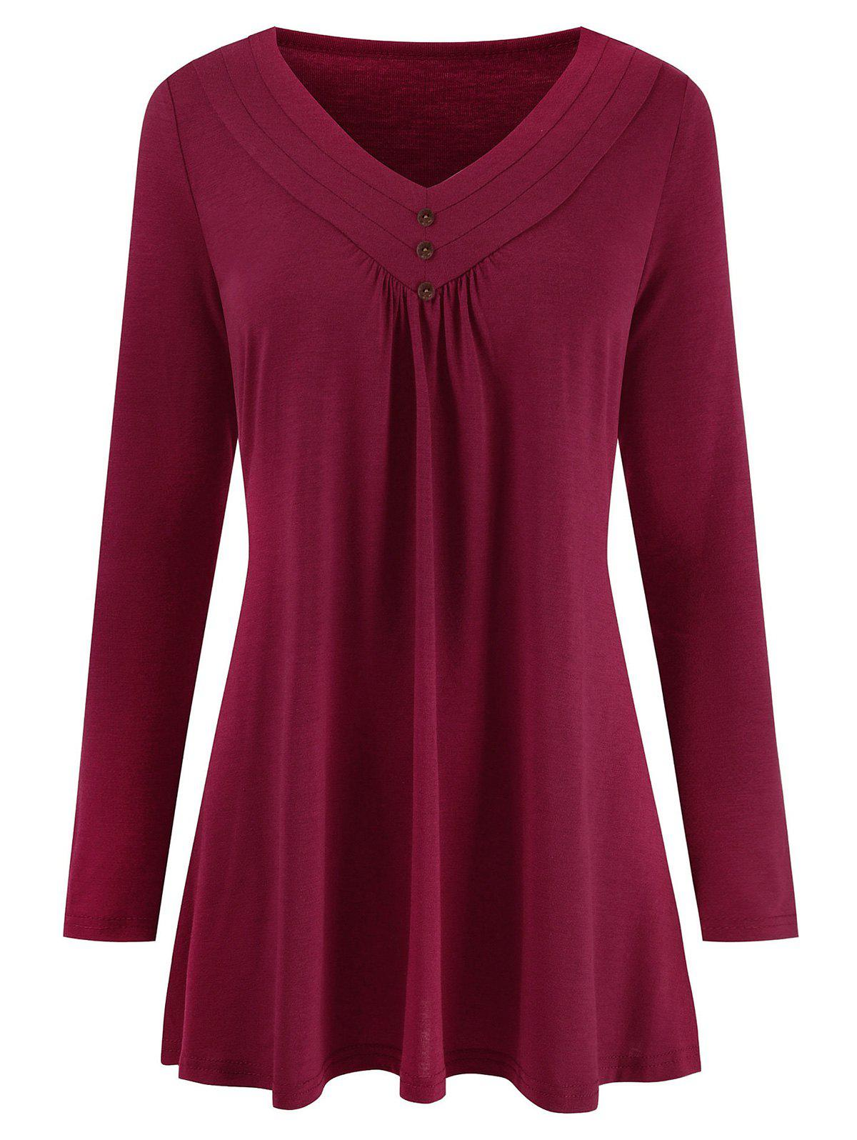 Mock Buttons V Neck Solid Tee - RED WINE 3XL