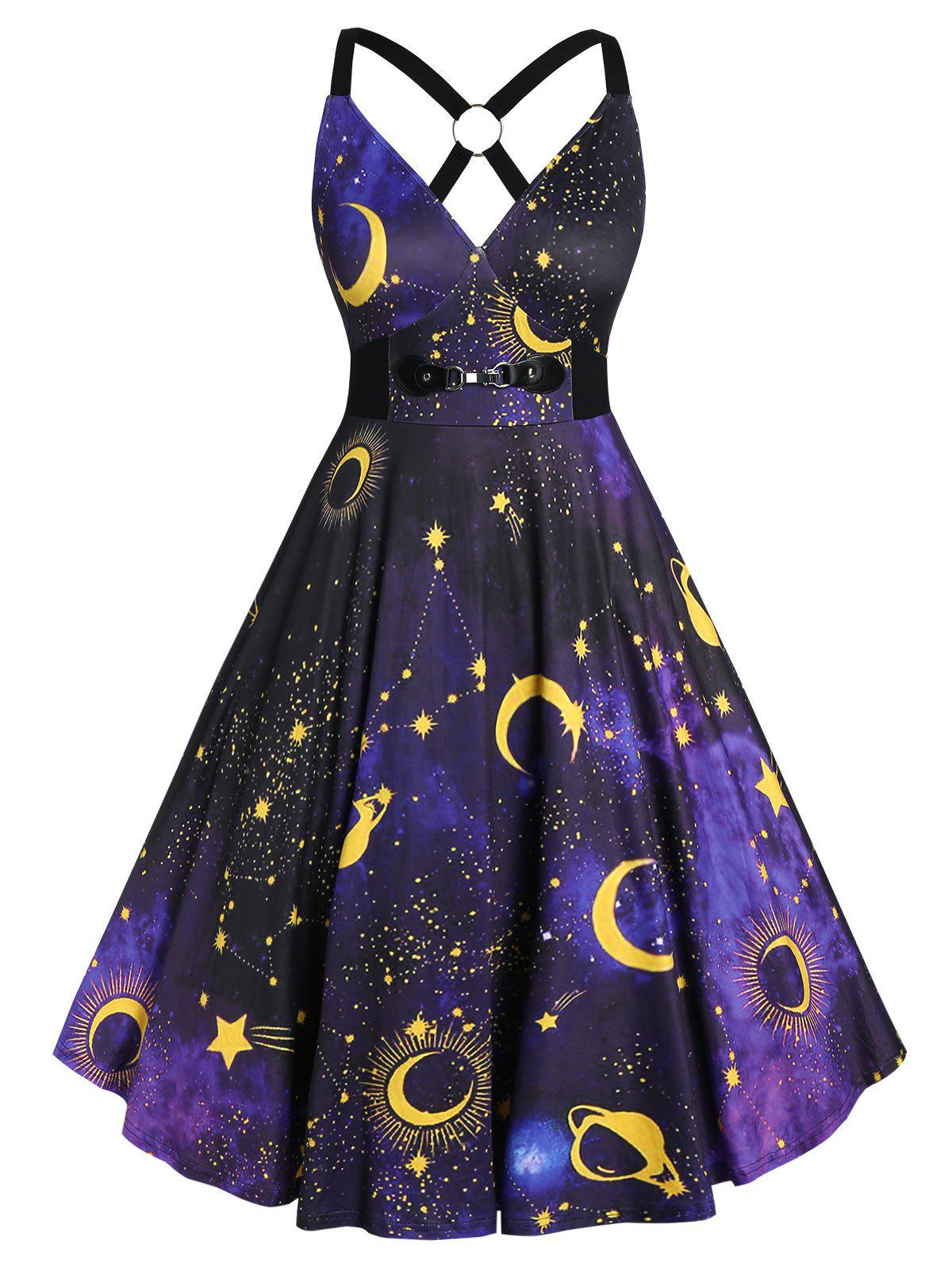Plus Size 3D Galaxy Planet Criss Cross Pin Up Dress