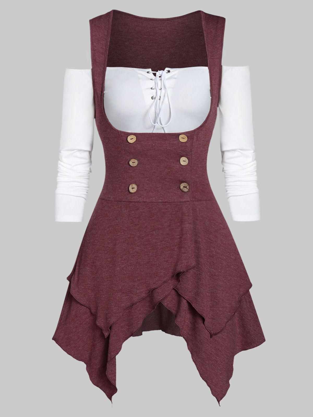 Solid Lace Up T Shirt with Asymmetrical Button Vest - FIREBRICK 2XL