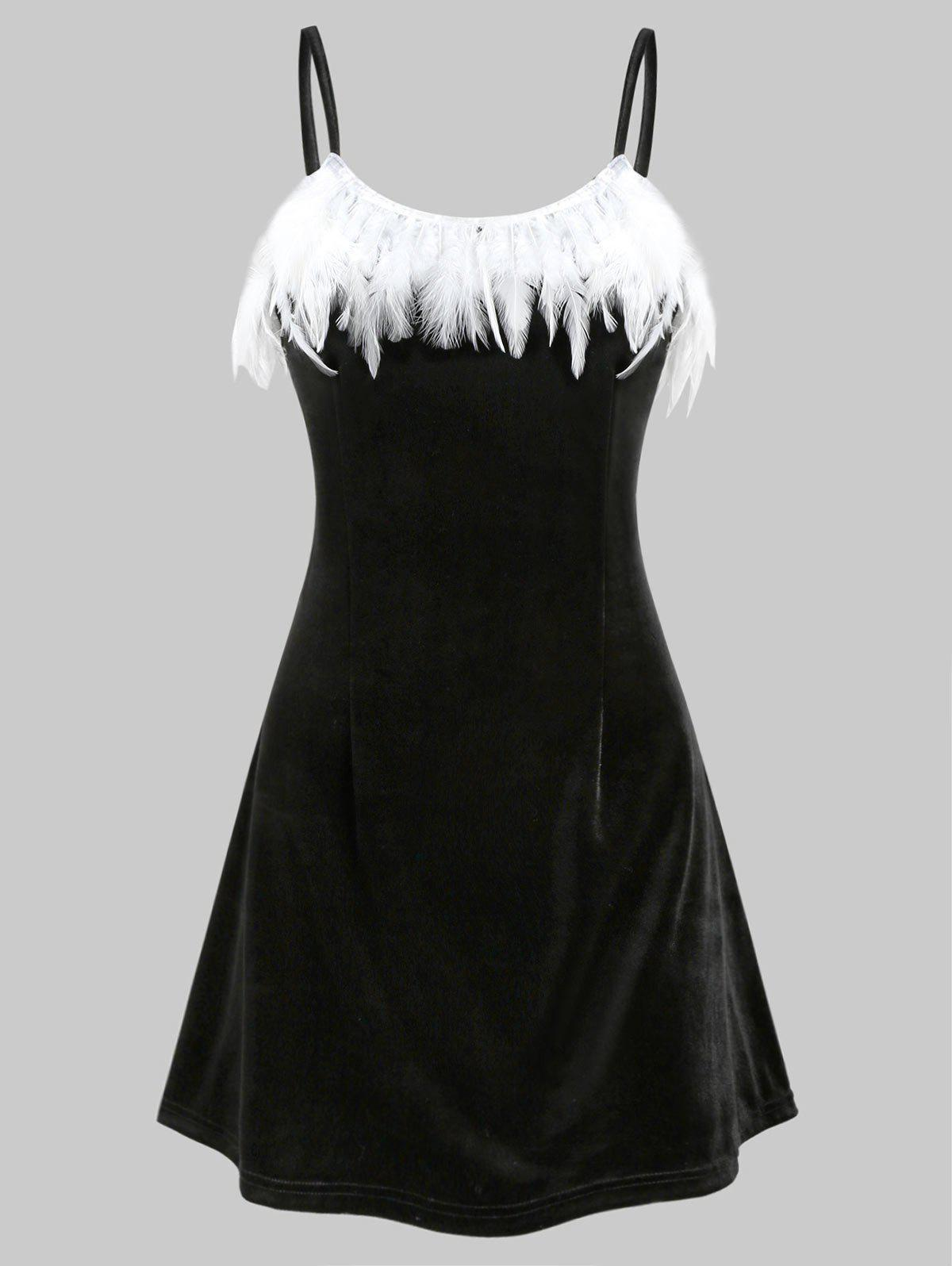 Feather Embellished Velvet Solid Cami Dress - BLACK 3XL