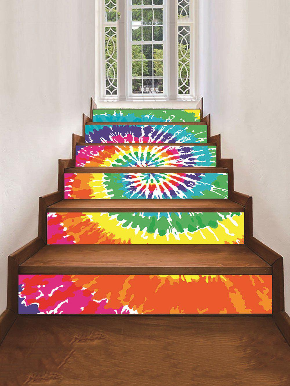 Dazzle Pattern Removable Stair Stickers, Multi-a