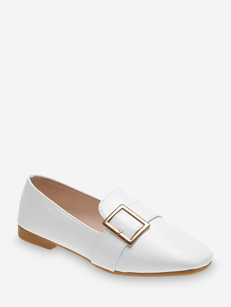 Buckle Strap PU Leather Slip On Flats, White