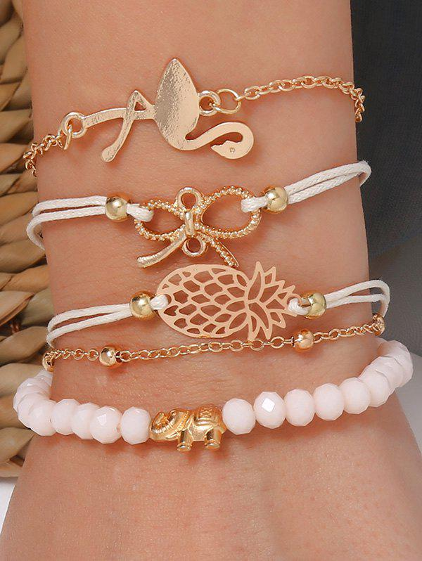 5Pcs Pineapple Bowknot Flamingo Bracelet Set - GOLD
