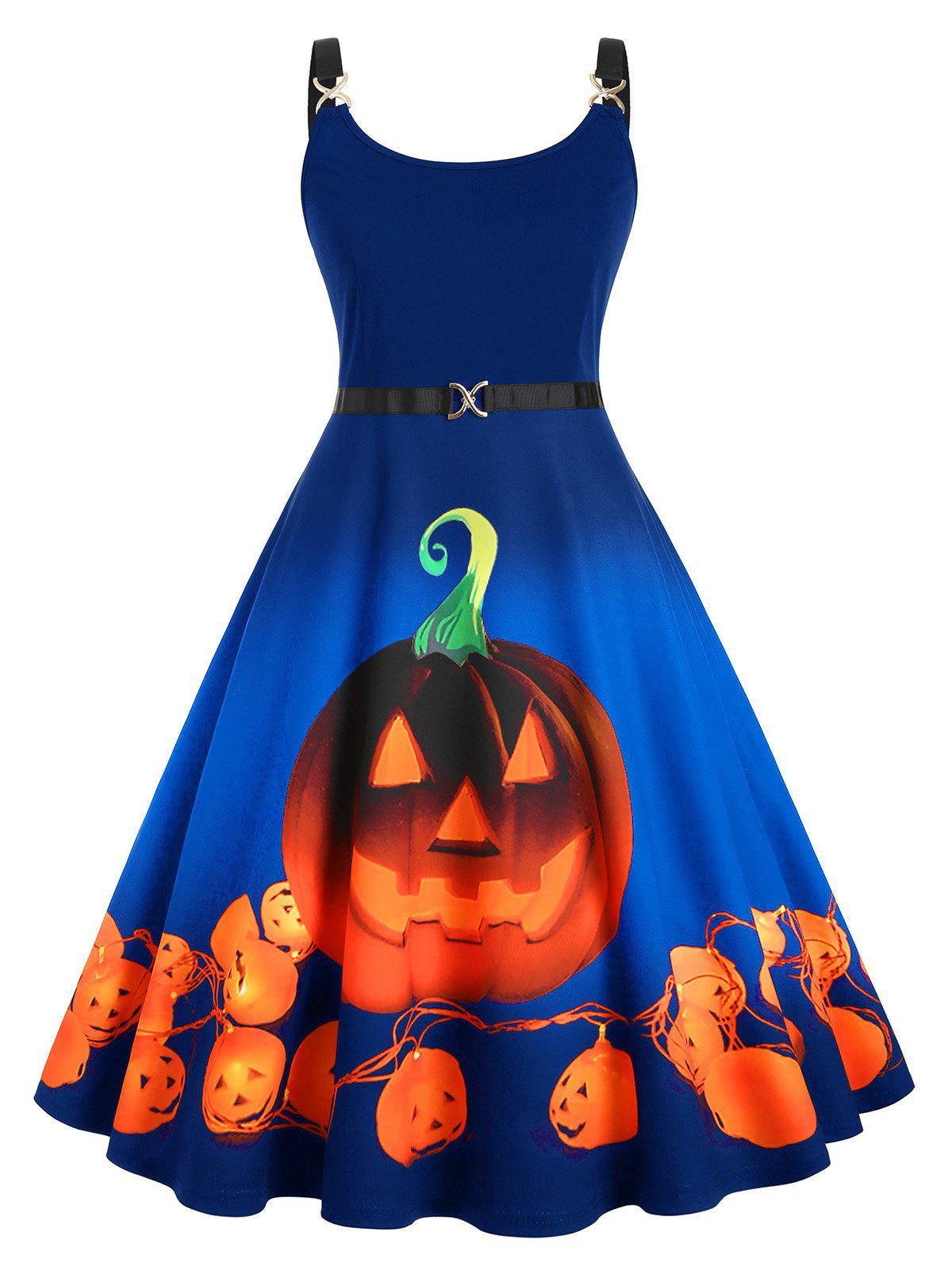 Pumpkin Print Halloween Straps Plus Size Dress