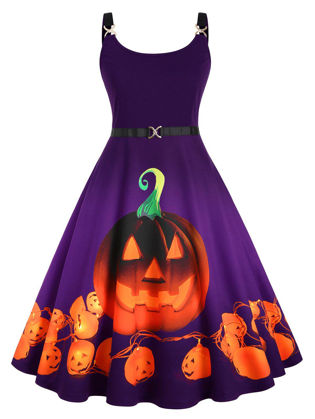 Pumpkin Print Halloween Straps Plus Size Dress - PURPLE 4X