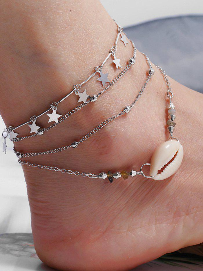 3Pcs Shell Star Layers Charm Anklet Set - SILVER
