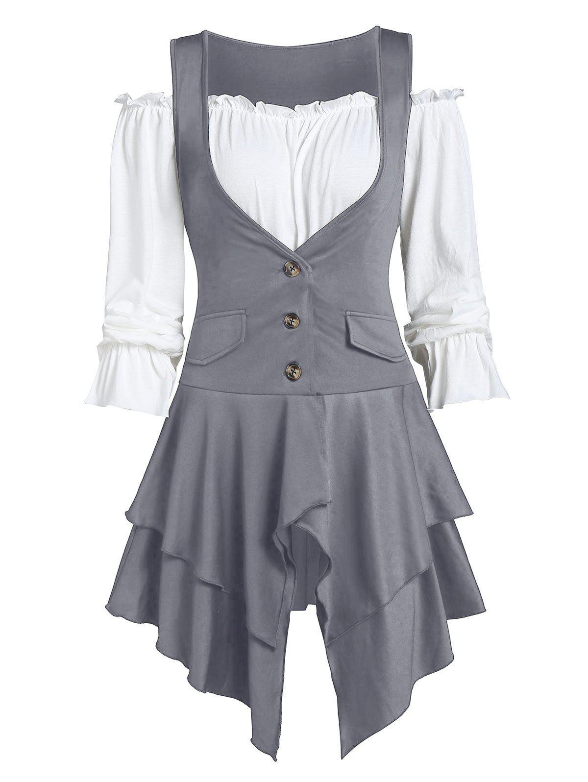 Off The Shoulder Plain Top and Asymmetric Lace-up Layered Vest - GRAY S