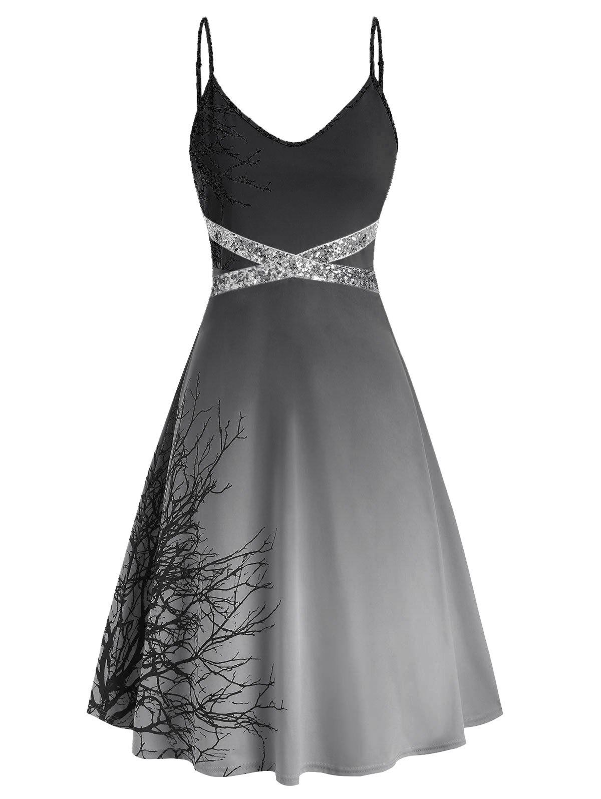 Plus Size Spaghetti Strap Tree Print Sequin Halloween Dress - CARBON GRAY 5X
