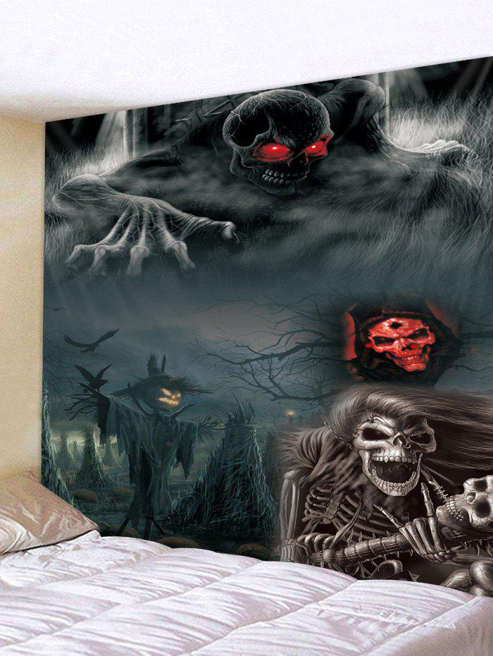Halloween Night Skeleton Print Tapestry Wall Hanging Art Decoration, Smokey gray