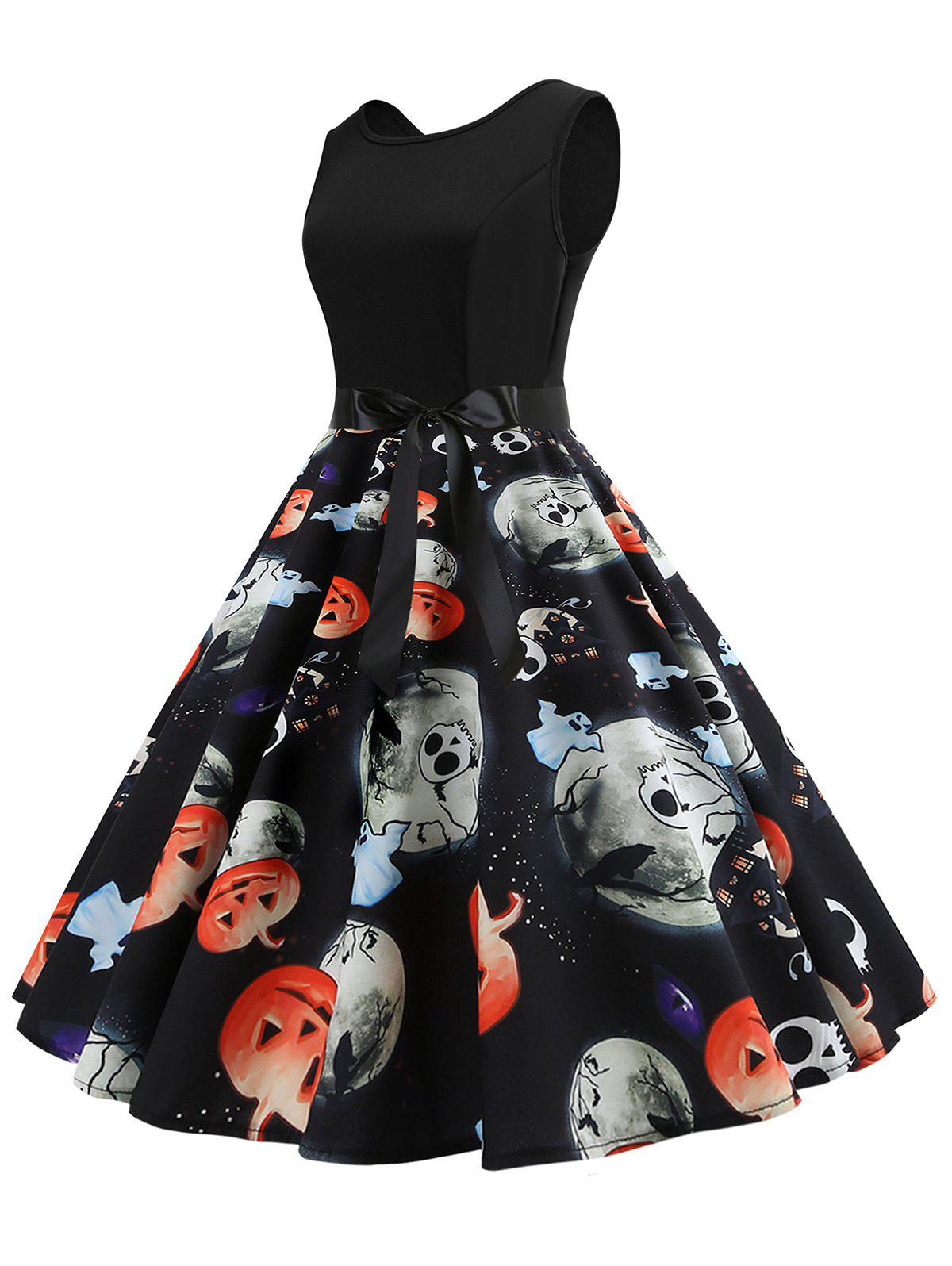 Halloween Pumpkin Skull Print Sleeveless Belted Dress