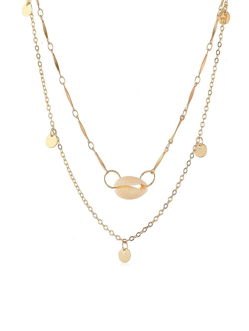 Seashell Round Disc Decoration Necklace - GOLD