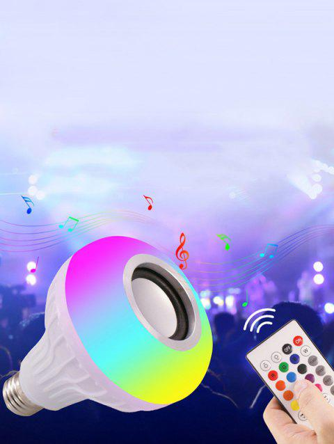 LED RGB Light Bulb with Bluetooth Speaker Remote Control - WHITE