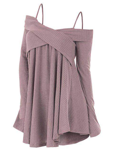 Cold Shoulder Crisscross Tunic Sweater - ROSE S