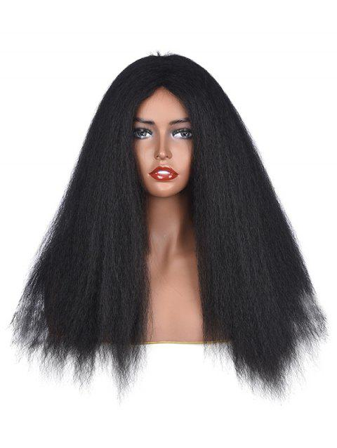 Afro Yaki Straight Synthetic Fluffy Center Part Long Wig - NATURAL BLACK