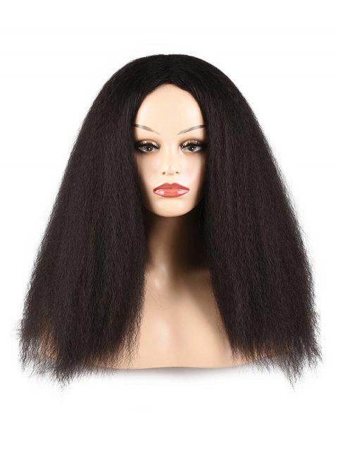 Afro Yaki Straight Synthetic Fluffy Center Part Long Wig - CHARCOAL