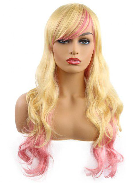 Oblique Bang Gradient Body Wave Synthetic Long Wig - CORN YELLOW