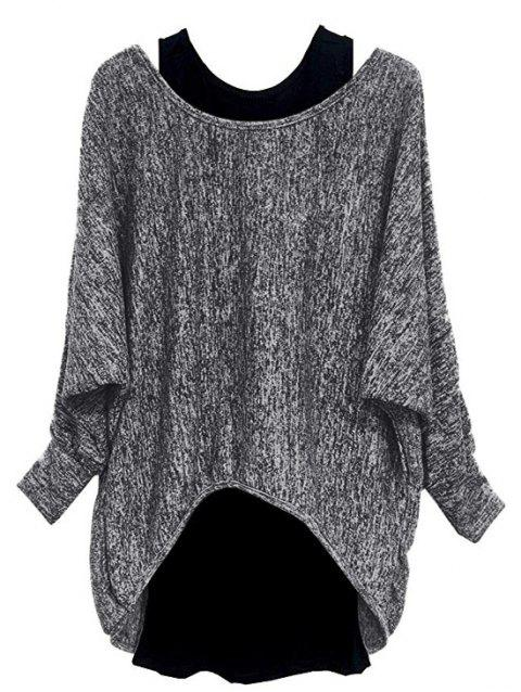 Plus Size High Low Batwing Sleeve Marled Tee And Tank Top Set - GRAY CLOUD 1X