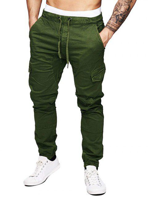 Solid Color Splicing Faux Back Pocket Casual Jogger Pants - ARMY GREEN 2XL
