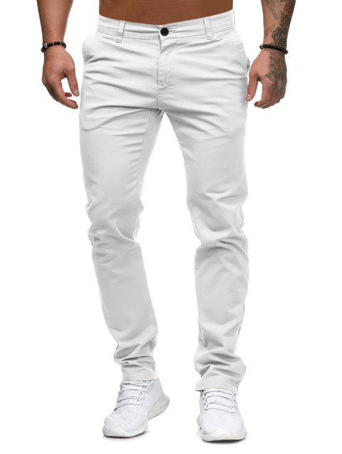 Solid Color Zip Fly Casual Pants - WHITE M