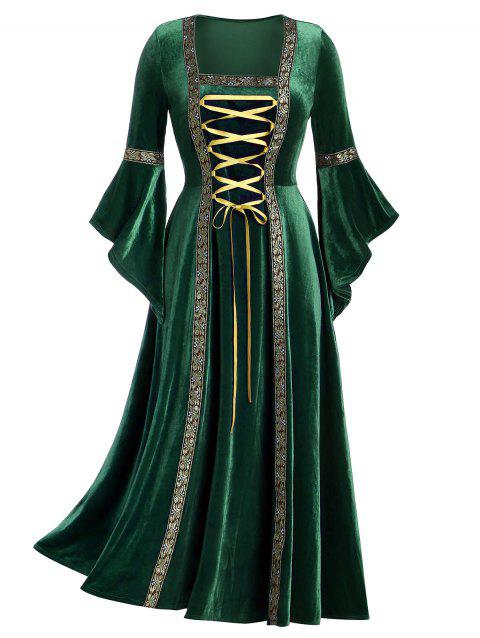 Plus Size Bell Sleeve Lacing Velvet Maxi Gothic Dress - DEEP GREEN 1X