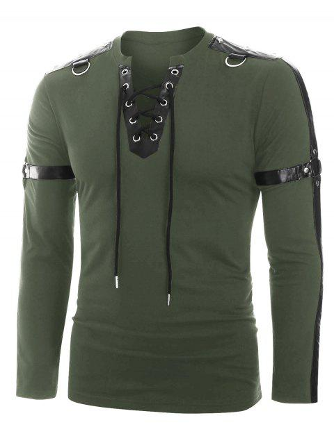 Harness Insert Long Sleeve Lace-up T-shirt - CAMOUFLAGE GREEN 2XL