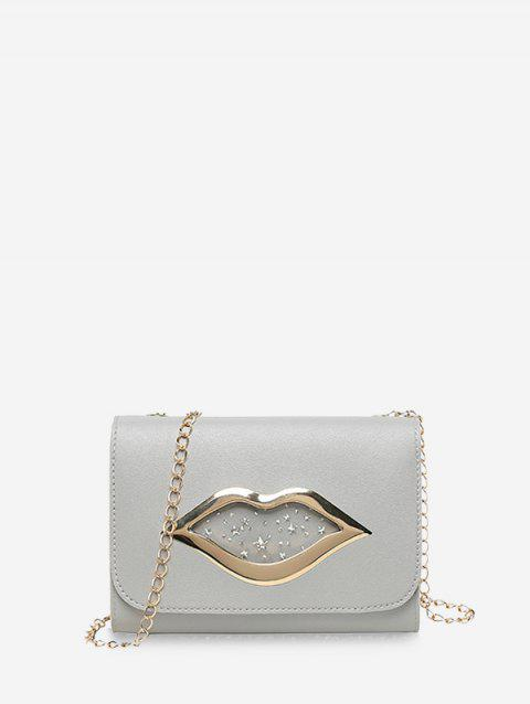 Lips Shape Pattern Sequins Square Chain Bag - BLUE GRAY