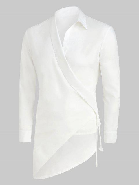 Solid Color Asymmetrical Long-sleeved Shirt - WHITE M