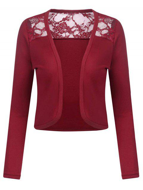 Lace Panel Open Front Short Plus Size Cardigan - RED WINE 4X