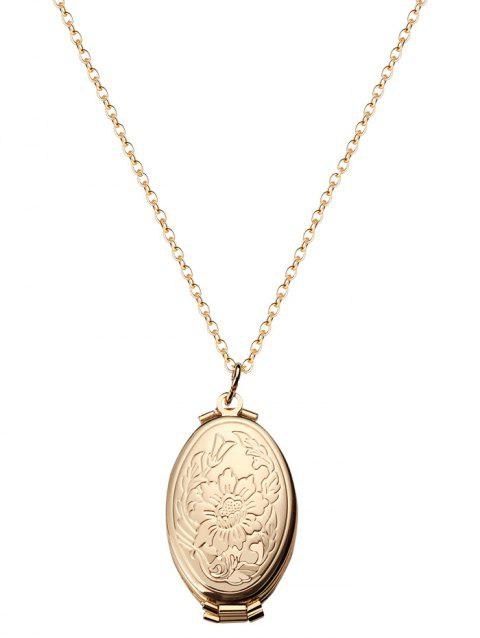 Oval Engraved Floral Photo Locket Necklace - GOLD FLOWERS