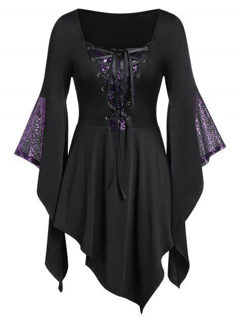 Plus Size Gothic Lace Up Sequined Bell Sleeve Asymmetric Tee - BLACK 5X