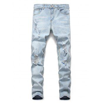 Light Wash Distressed Design Casual Jeans