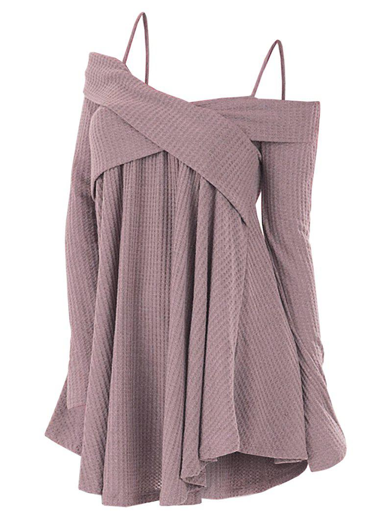 Cold Shoulder Crisscross Tunic Sweater - ROSE XL