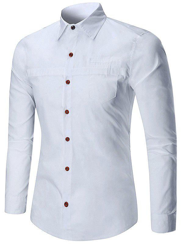 Solid Color Faux Pocket Long Sleeve Button Shirt - WHITE XL